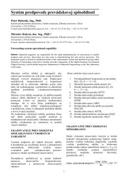 2011 Systém predpovede prevádzkovej