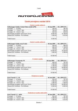 Ceník autopůjčovny - AUTO-CONT
