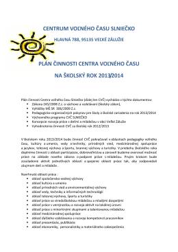 (plán prace 2013_2014) - Centrum voľného času SLNIEČKO vo
