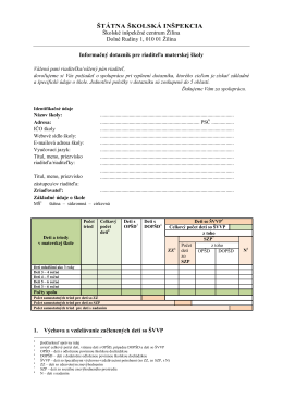 Informačný dotazník pre riaditeľa MŠ