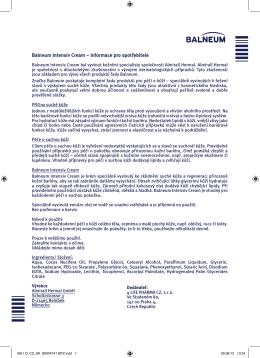 Balneum Intensiv Cream – Informace pro spotřebitele