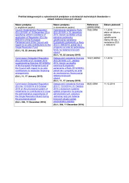 Zoznam delegovaných a vykonávacích predpisov zverejnených v