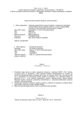 Nájomná zmluva č. 1/2011