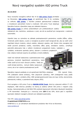 Nový navigačný systém iGO primo Truck