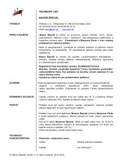 TECHNICKÝ LIST BIOZOR ŠPECIÁL - PAM