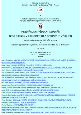 mezinárodní vědecký seminář nové trendy v ekonometrii a