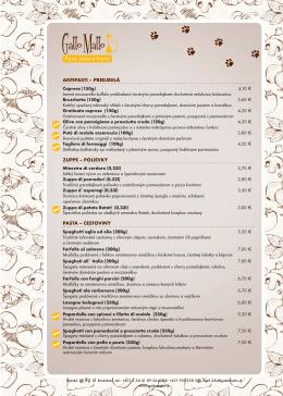 antipasti – predjedlá zuppe – polievky pasta – cestoviny