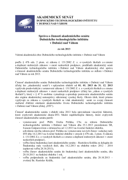 Správa o činnosti akademického senátu DTI za rok