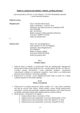 """Zmluva o poskytovaní služieb v oblasti """"civilnej ochrany"""""""