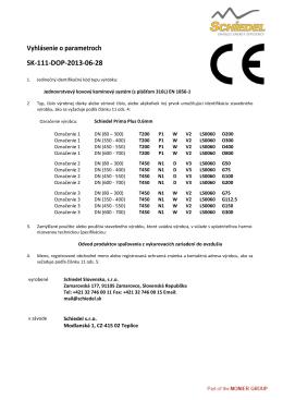 Vyhlásenie o parametroch SK-111-DOP-2013-06-28