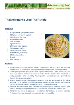 "Thajské rezance ""Pad Thai"" s tofu"