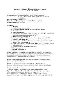 Zápisnica z 2. zasadania obecného zastupiteľstva v Sačurove