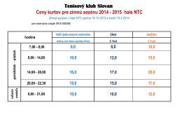 Cenník hala NTC - TK SLOVAN Bratislava