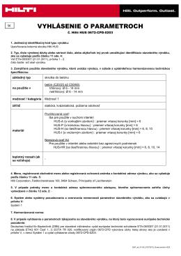 PDFPrehlásenie o výkone Hilti HUS 0672-CPD