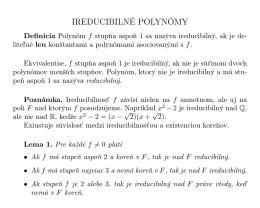 IREDUCIBILNÉ POLYNÓMY
