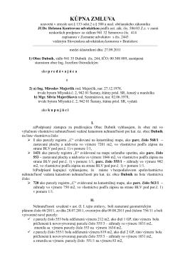 Kúpna zmluva - Obec Dubník