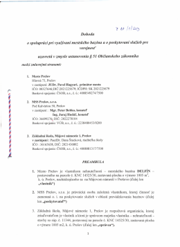 Dohoda o spolupráci pri využívaní mestského bazéna a