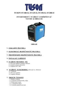 TUSON SV100-O, SV125-O, SV150-O, SV200-O - Svářečky