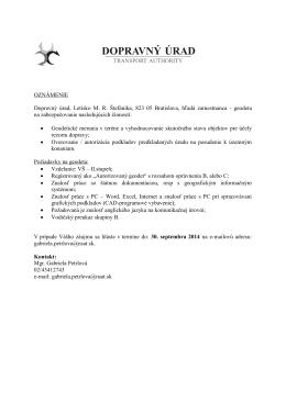 OZNÁMENIE Dopravný úrad, Letisko M. R. Štefánika, 823 05