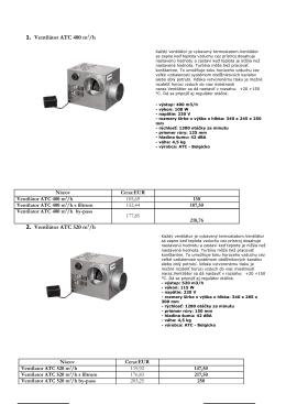 1. Ventilátor ATC 400 m3/h 2. Ventilátor ATC 520 m3/h