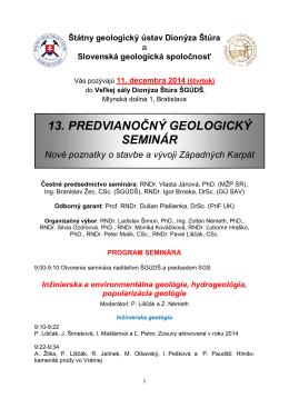 13. predvianočný geologický seminár