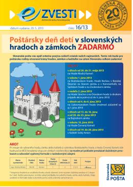 Poštársky deň detí v slovenských hradoch a zámkoch ZADARMO