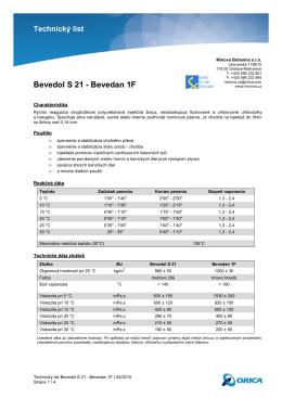 Technický list Bevedol S 21 - Bevedan 1F