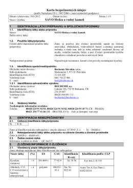 Karta bezpečnostných údajov SAVO Hrdza a vodný kameň