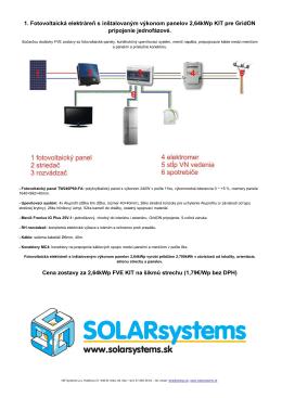 1. Fotovoltaická elektráreň s inštalovaným