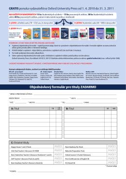 Objednávkový formulár pre tituly ZADARMO