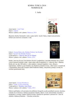 KNIHA TURCA 2014 NOMINÁCIE 1. kolo