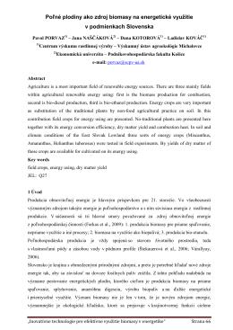 Poľné plodiny ako zdroj biomasy na energetické - ener