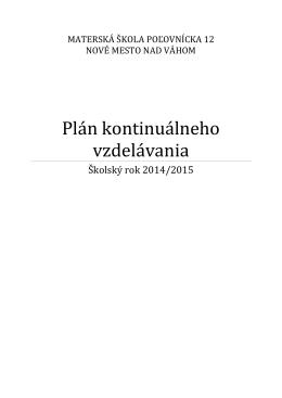 Plán kontinuálneho vzdelávania