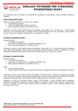 doklady potrebné pre vybavenie študentskej zľavy