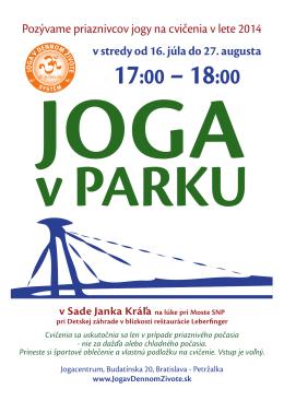 17:00 – 18:00 - Joga v dennom živote