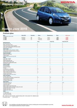Honda Jazz 2015 Akciový cenník