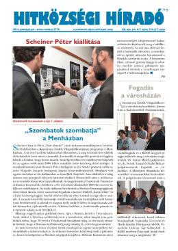 HITKÖZSÉGI HÍRADÓ Scheiner Péter kiállítása