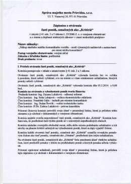 Zápisnica z otvárania ponúk - Správa majetku mesta Prievidza