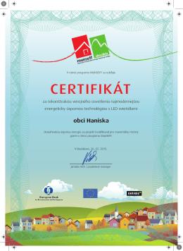 certifikát - obec Haniska