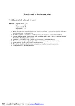 Tranšírovanie hydiny ( postup práce)