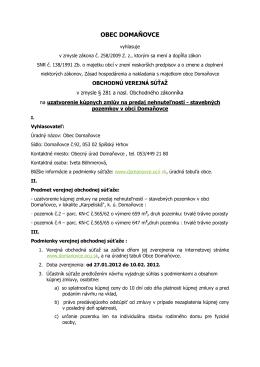 Verejná obchodná súťaž - od 27.01.2012 do