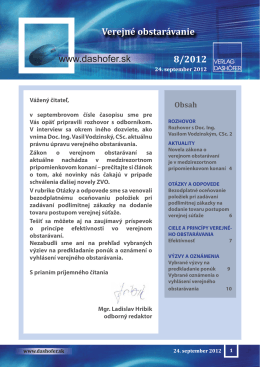 www.dashofer.sk Verejné obstarávanie 8/2012