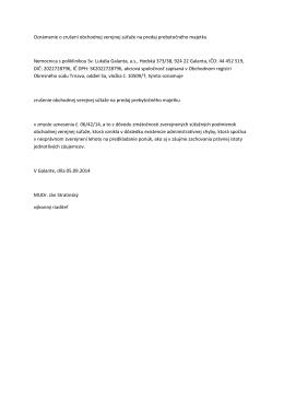Oznámenie o zrušení obchodnej verejnej súťaže na predaj