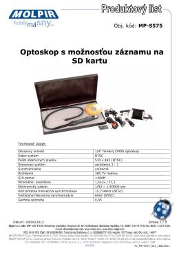 Optoskop s možnosťou záznamu na SD kartu