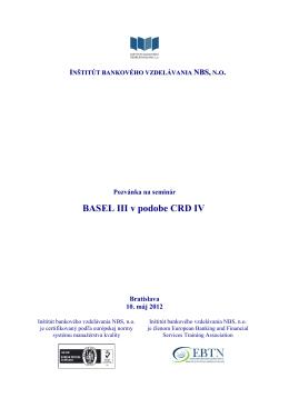 BASEL III v podobe CRD IV