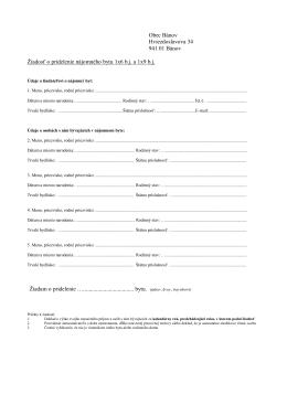 Žiadosť o pridelenie nájomného bytu 1x6