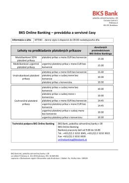 Servisné časy - BKS Online Banking
