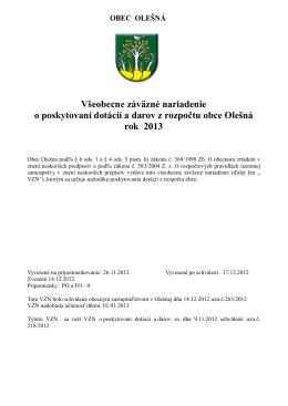 VZN o poskytovaní dotácií a darov z rozpočtu obce Olešná