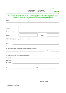 Potvrdenie o návšteve /škola/, aktívnej účasti
