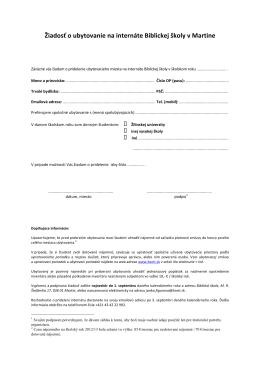 ziadost o ubytovanie (formular)